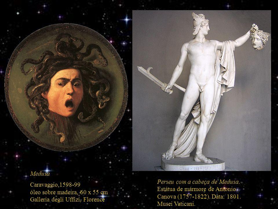 Perseu com a cabeça de Medusa. Estátua de mármore de Antonio Canova (1757-1822). Data: 1801. Musei Vaticani. Medusa Caravaggio,1598-99 óleo sobre made