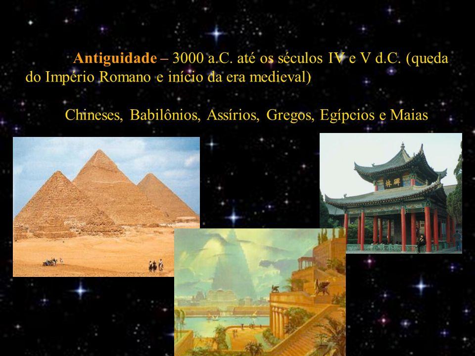 Antiguidade – 3000 a.C. até os séculos IV e V d.C. (queda do Império Romano e início da era medieval) Chineses, Babilônios, Assírios, Gregos, Egípcios