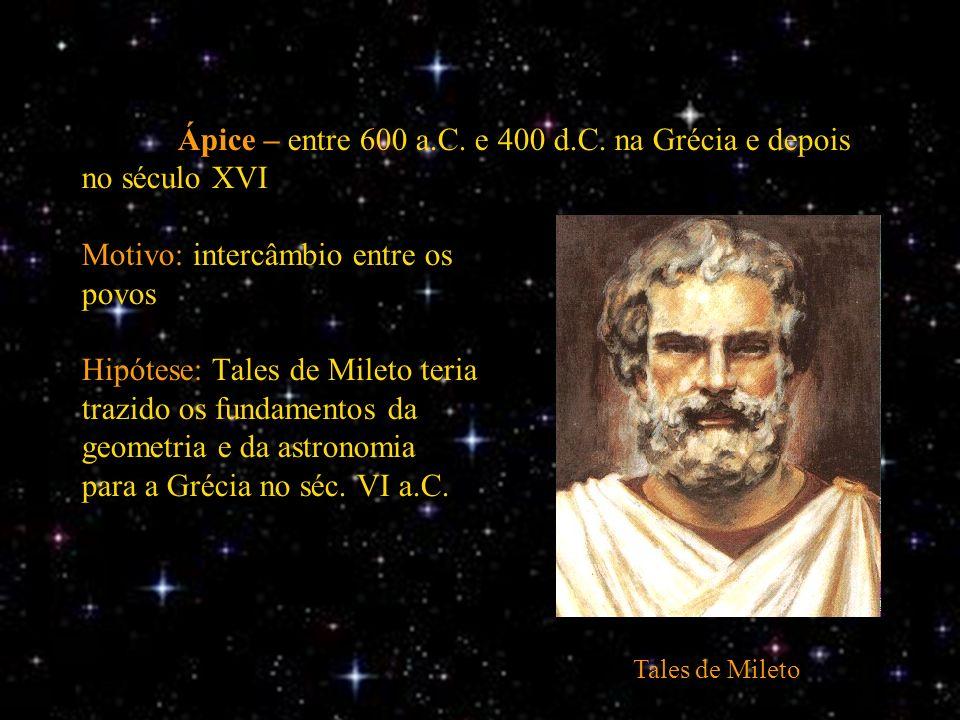 Ápice – entre 600 a.C. e 400 d.C. na Grécia e depois no século XVI Motivo: intercâmbio entre os povos Hipótese: Tales de Mileto teria trazido os funda
