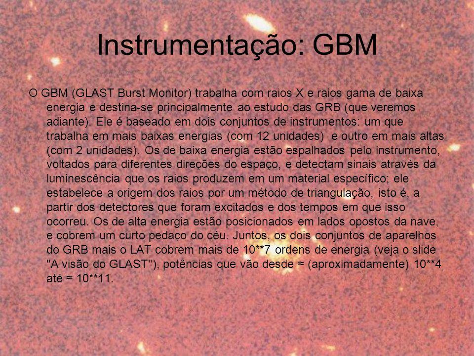 O GBM (GLAST Burst Monitor) trabalha com raios X e raios gama de baixa energia e destina-se principalmente ao estudo das GRB (que veremos adiante).