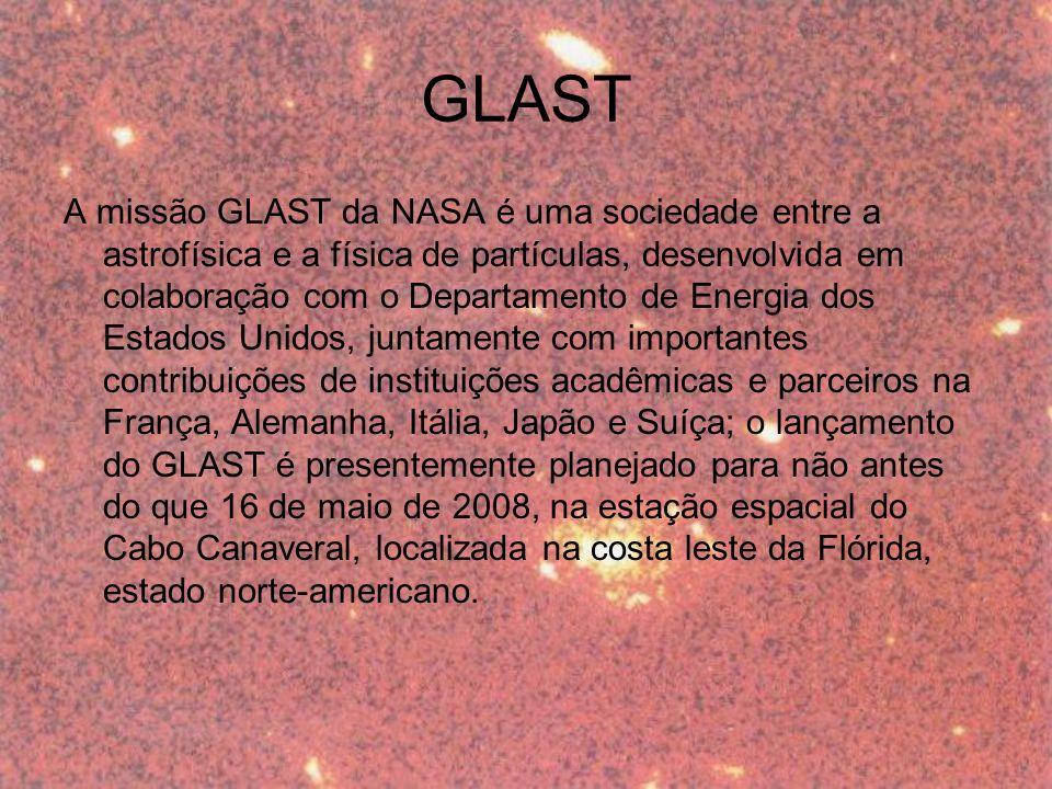 estudar raios gama Finalidade: Raios gama são originados de processos extremamente energéticos e violentos, em escala microscópica ou macroscópica Matéria escura; Miniburacos negros; Supernovas; Buracos negros; Magnetares; GRB s.