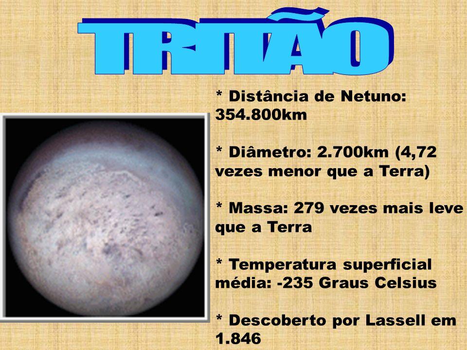 * Distância de Netuno: 354.800km * Diâmetro: 2.700km (4,72 vezes menor que a Terra) * Massa: 279 vezes mais leve que a Terra * Temperatura superficial