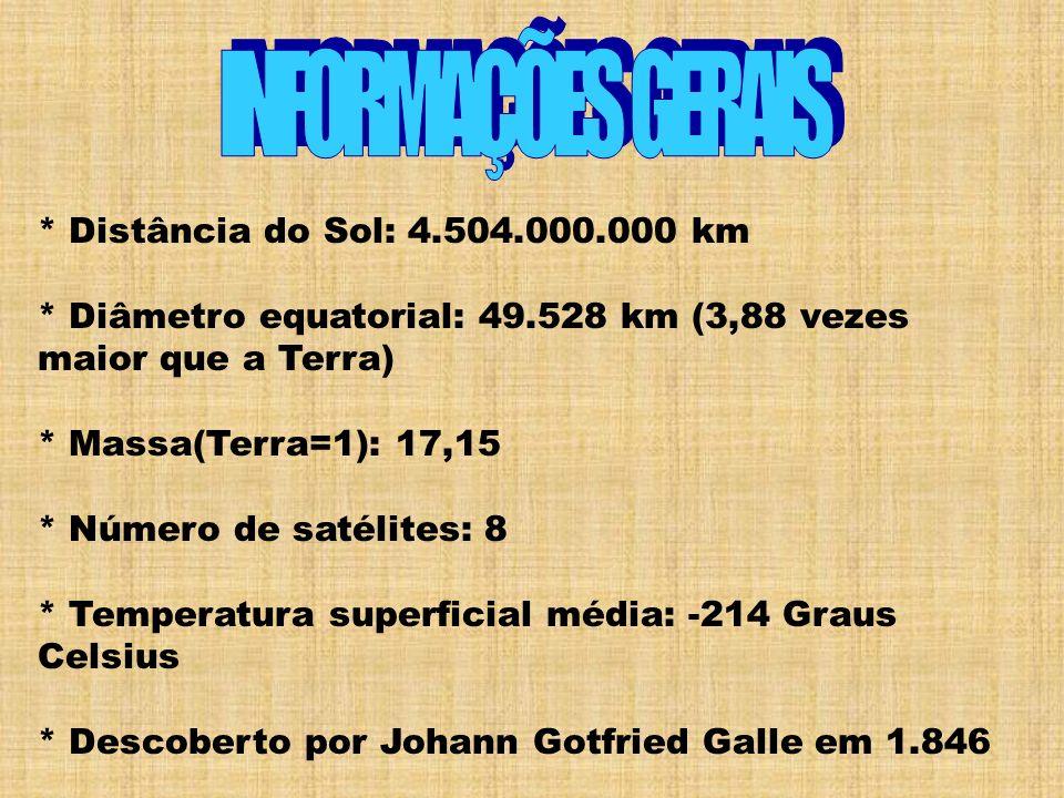 * Distância do Sol: 4.504.000.000 km * Diâmetro equatorial: 49.528 km (3,88 vezes maior que a Terra) * Massa(Terra=1): 17,15 * Número de satélites: 8