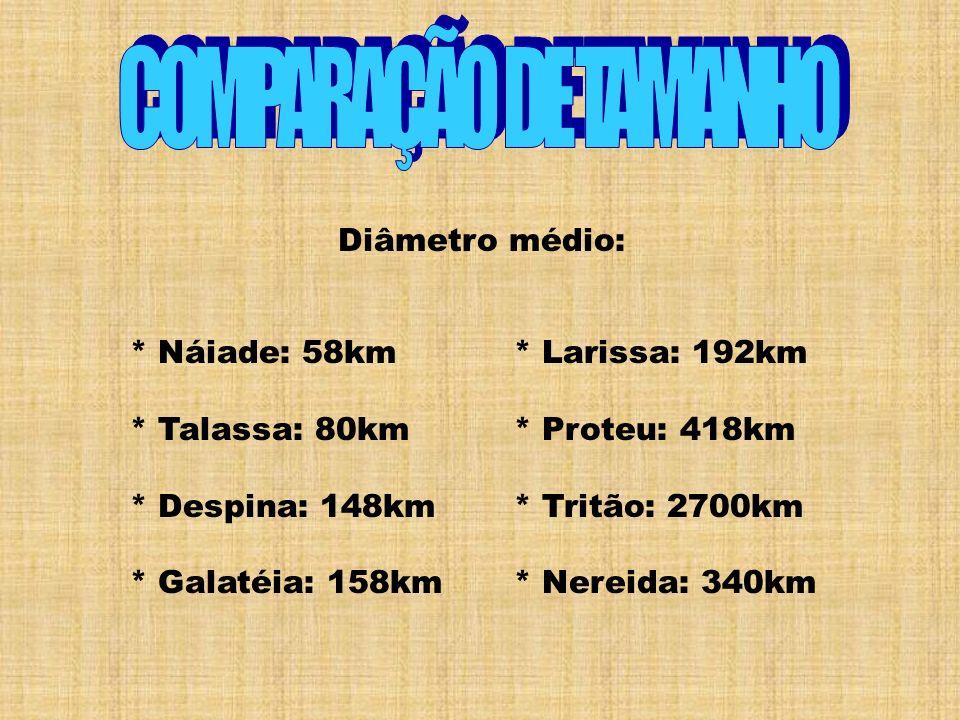 Diâmetro médio: * Náiade: 58km * Talassa: 80km * Despina: 148km * Galatéia: 158km * Larissa: 192km * Proteu: 418km * Tritão: 2700km * Nereida: 340km