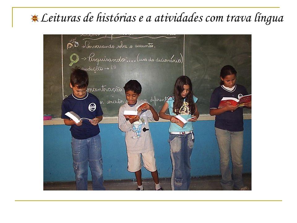 Leituras de histórias e a atividades com trava língua
