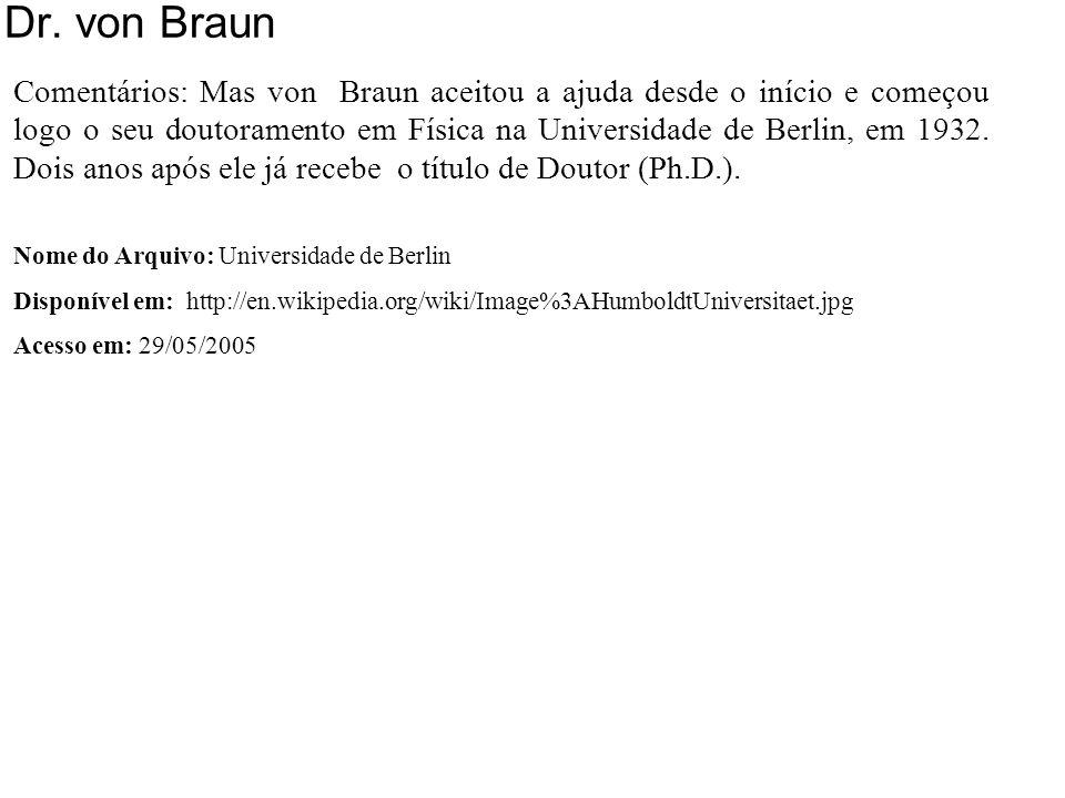 Dr. von Braun 1932-34 Universidade de Berlin