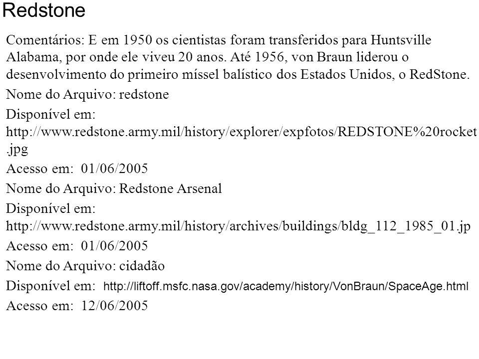 Redstone - Huntsville, Alabama 1950 Redstone 1956 Cidadão Americano