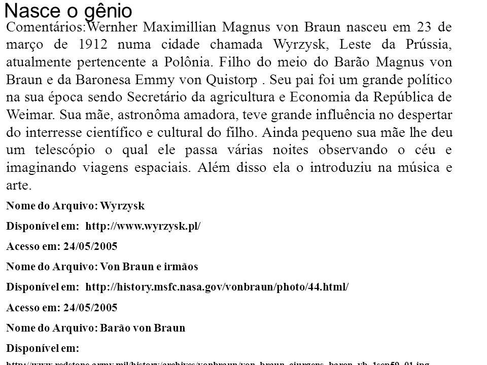 Barão Magnus von Braun e da Baronesa Emmy von Quistorp Nasce o Gênio 23/03/1912 Wyrzysk
