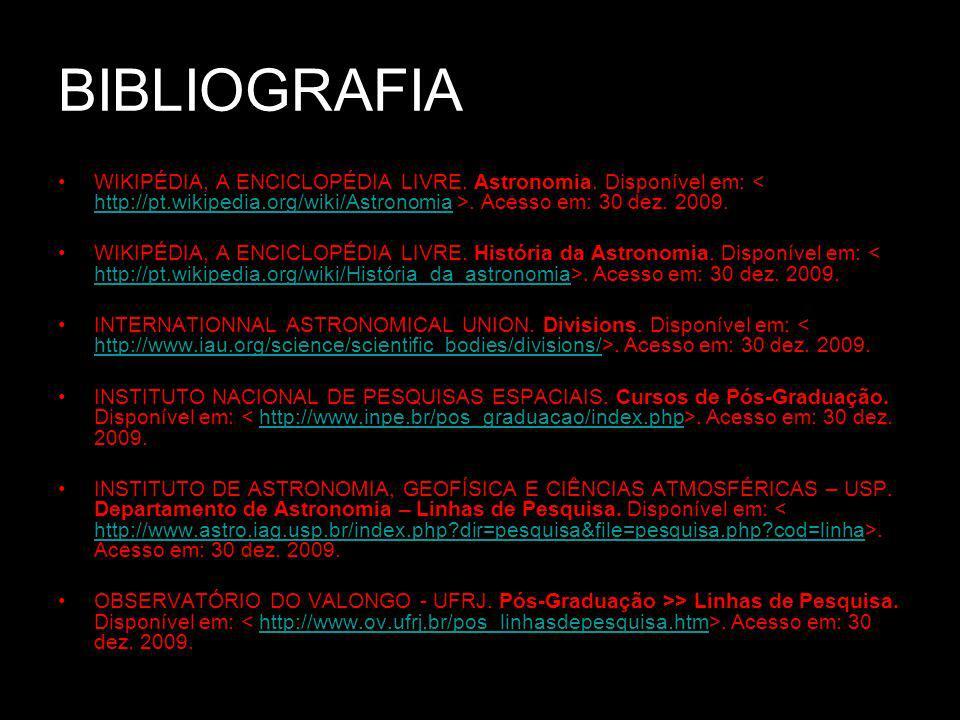 BIBLIOGRAFIA WIKIPÉDIA, A ENCICLOPÉDIA LIVRE. Astronomia.