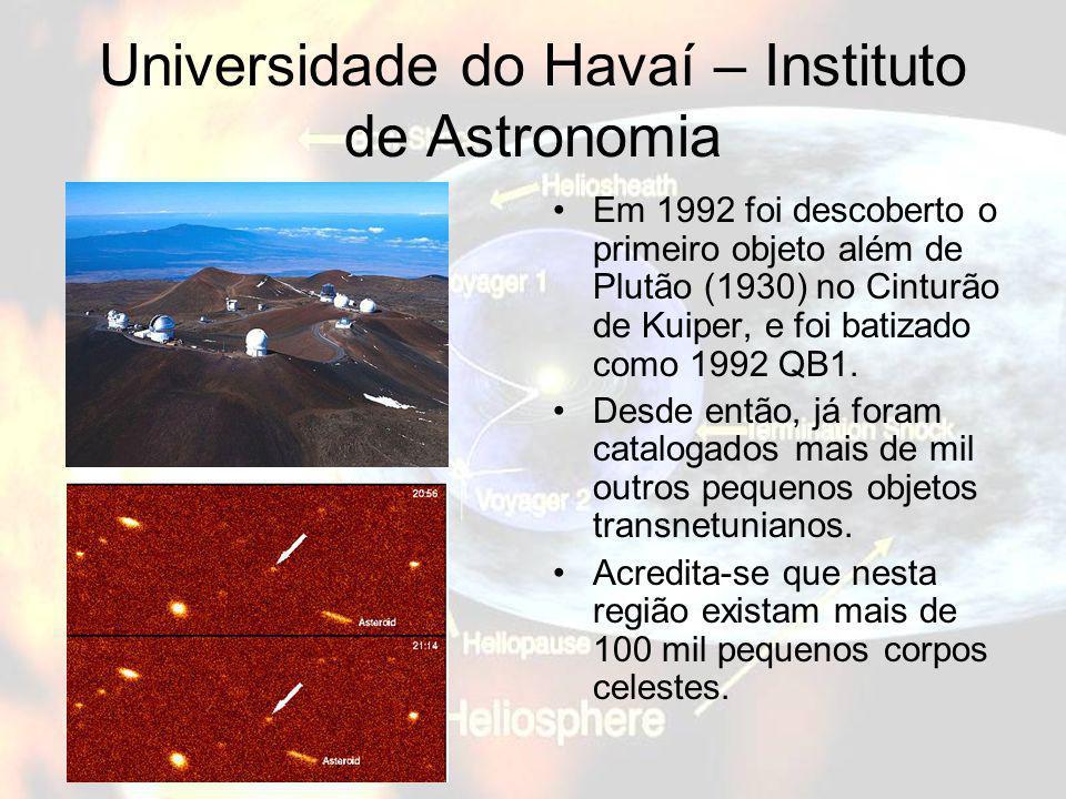 Universidade do Havaí – Instituto de Astronomia Em 1992 foi descoberto o primeiro objeto além de Plutão (1930) no Cinturão de Kuiper, e foi batizado c