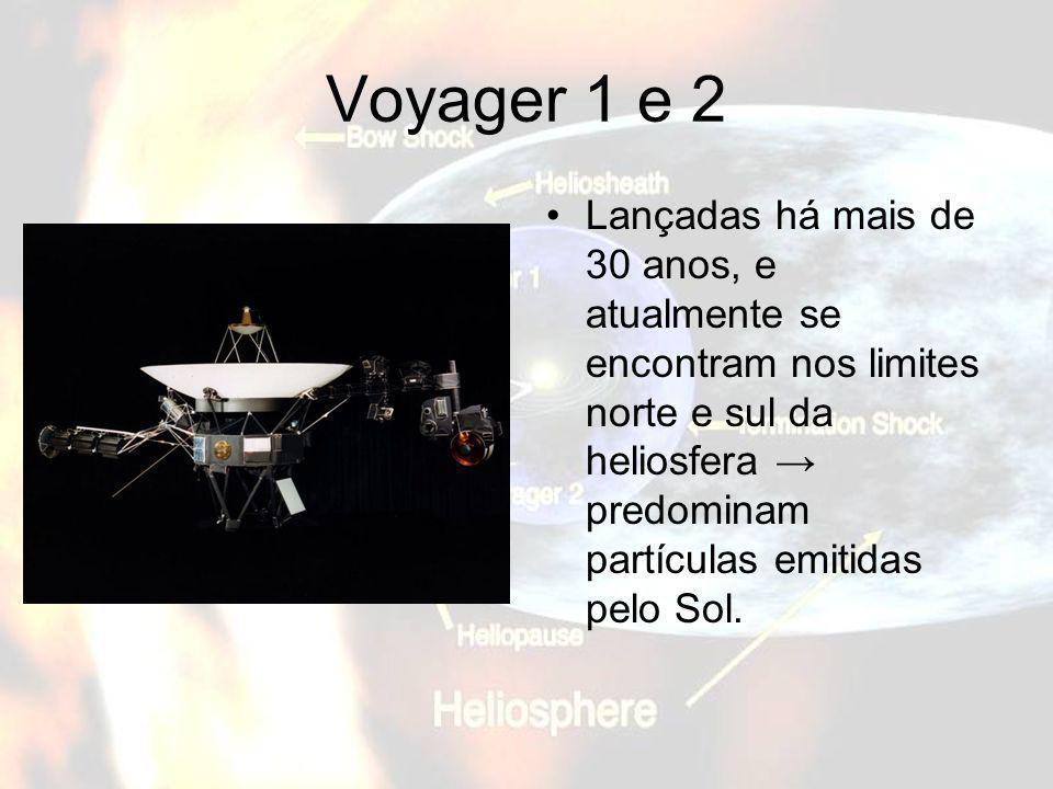 Voyager 1 e 2 Lançadas há mais de 30 anos, e atualmente se encontram nos limites norte e sul da heliosfera predominam partículas emitidas pelo Sol.
