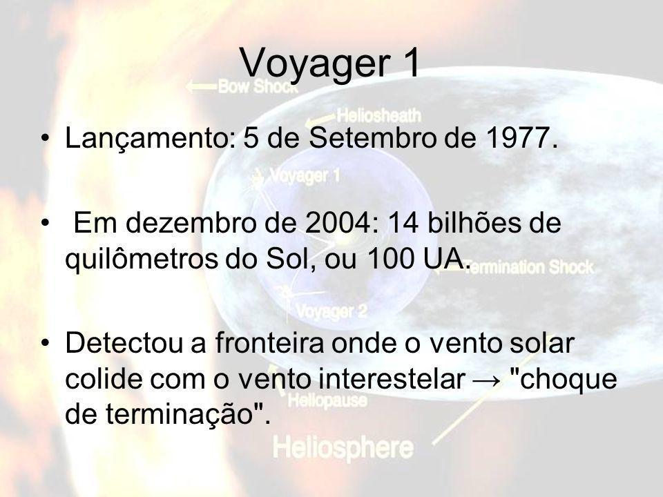 Voyager 1 Lançamento: 5 de Setembro de 1977. Em dezembro de 2004: 14 bilhões de quilômetros do Sol, ou 100 UA. Detectou a fronteira onde o vento solar