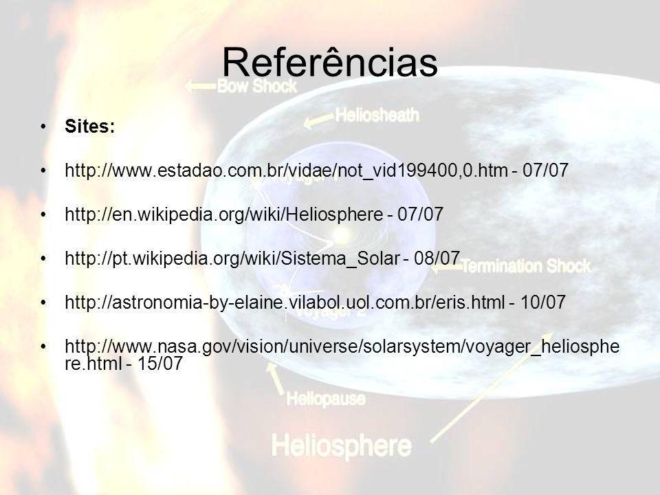 Referências Sites: http://www.estadao.com.br/vidae/not_vid199400,0.htm - 07/07 http://en.wikipedia.org/wiki/Heliosphere - 07/07 http://pt.wikipedia.or