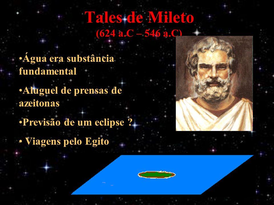 Tales de Mileto (624 a.C – 546 a.C) Água era substância fundamental Aluguel de prensas de azeitonas Previsão de um eclipse .