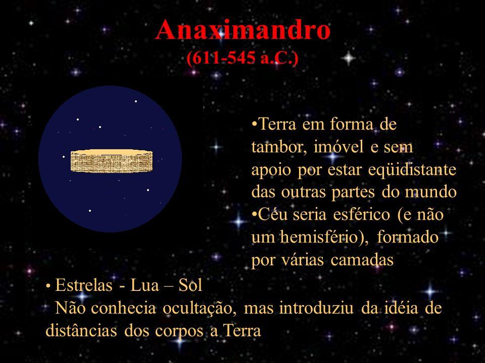 Anaximandro (611-545 a.C.) Terra em forma de tambor, imóvel e sem apoio por estar eqüidistante das outras partes do mundo Céu seria esférico (e não um hemisfério), formado por várias camadas Estrelas - Lua – Sol Não conhecia ocultação, mas introduziu da idéia de distâncias dos corpos a Terra