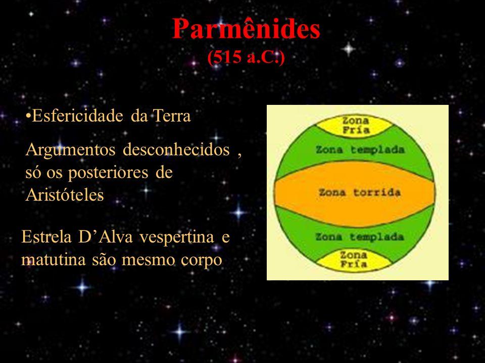 Parmênides (515 a.C.) Estrela DAlva vespertina e matutina são mesmo corpo Esfericidade da Terra Argumentos desconhecidos, só os posteriores de Aristóteles