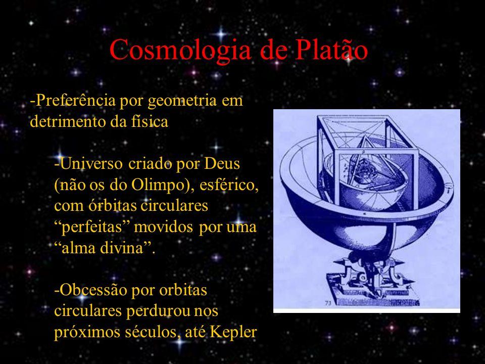 Cosmologia de Platão -Preferência por geometria em detrimento da física -Universo criado por Deus (não os do Olimpo), esférico, com órbitas circulares perfeitas movidos por uma alma divina.