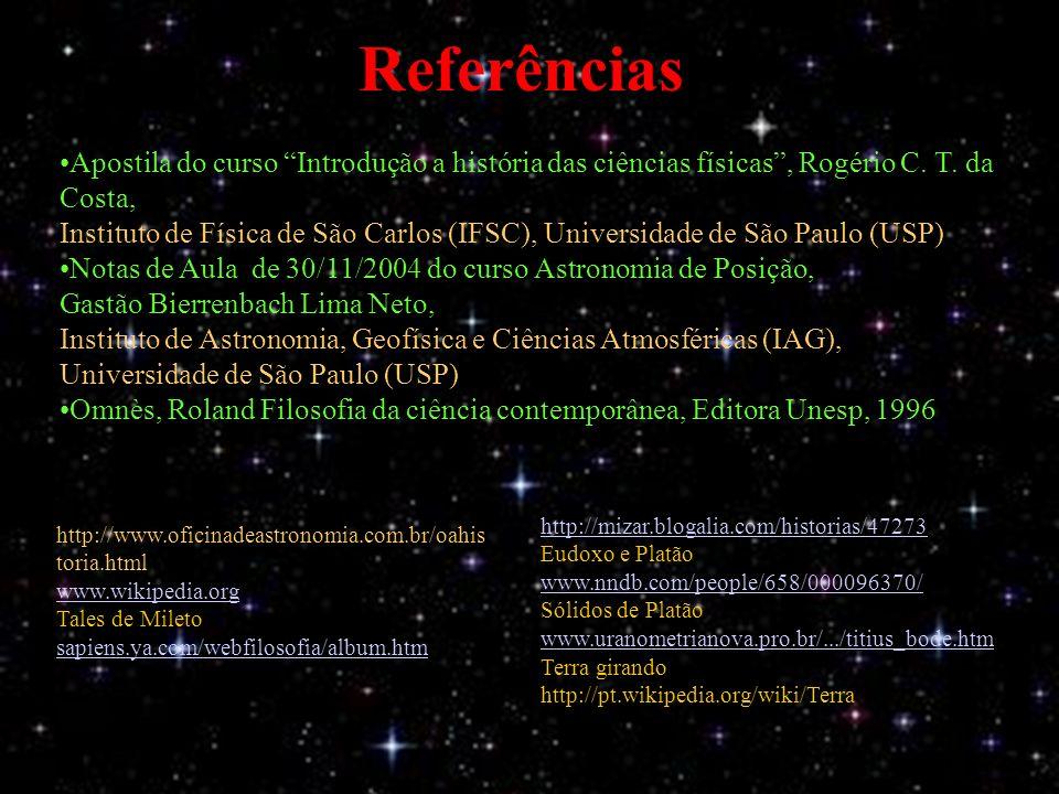 Referências Apostila do curso Introdução a história das ciências físicas, Rogério C.