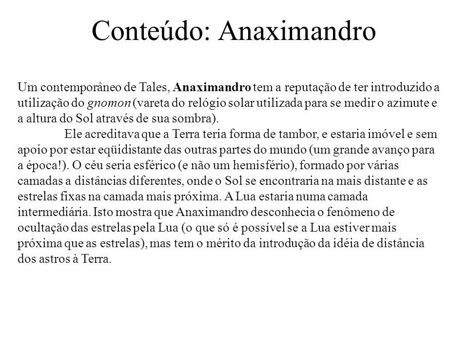 Conteúdo: Anaximandro Um contemporâneo de Tales, Anaximandro tem a reputação de ter introduzido a utilização do gnomon (vareta do relógio solar utilizada para se medir o azimute e a altura do Sol através de sua sombra).