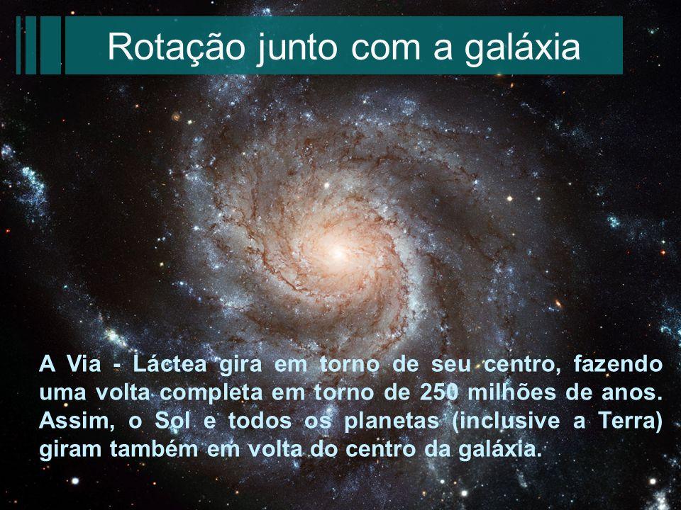 Rotação junto com a galáxia A Via - Láctea gira em torno de seu centro, fazendo uma volta completa em torno de 250 milhões de anos. Assim, o Sol e tod