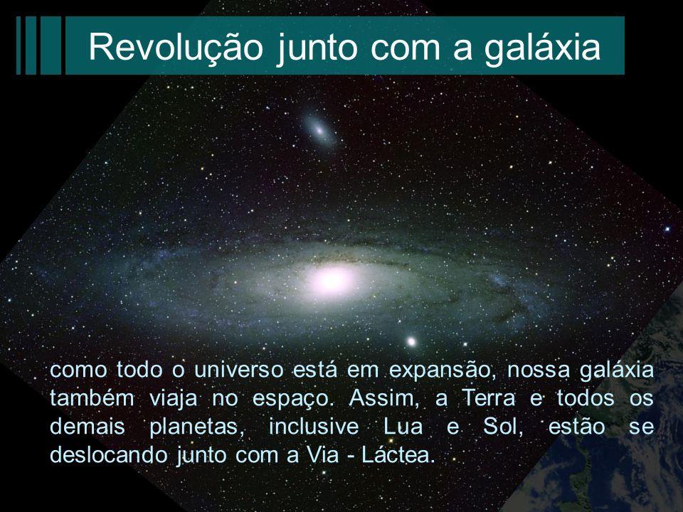 Revolução junto com a galáxia como todo o universo está em expansão, nossa galáxia também viaja no espaço. Assim, a Terra e todos os demais planetas,
