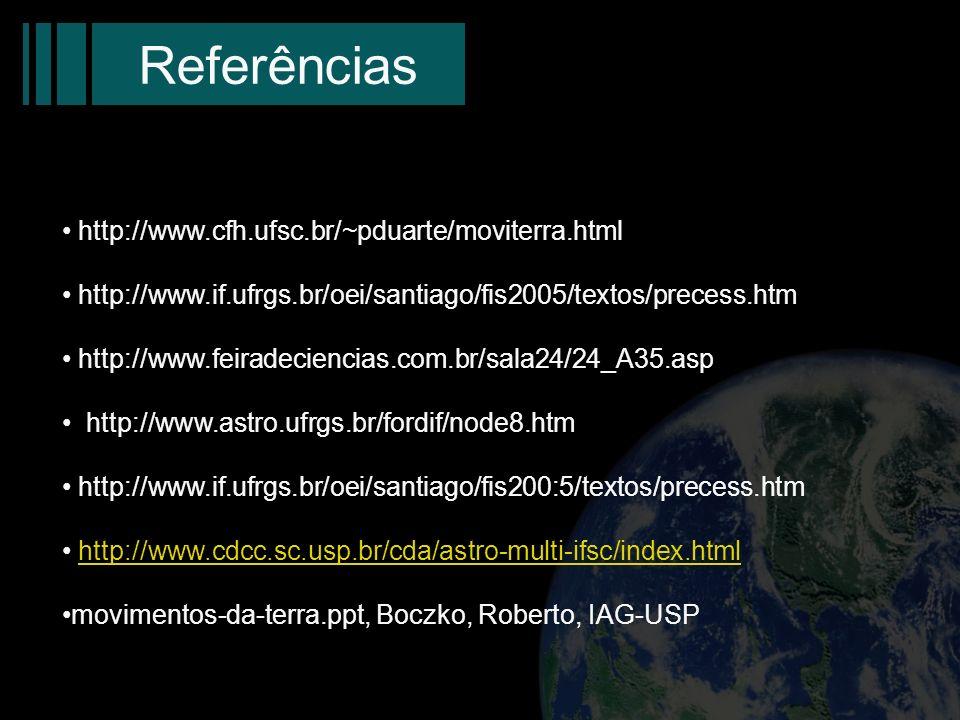 Referências http://www.cfh.ufsc.br/~pduarte/moviterra.html http://www.if.ufrgs.br/oei/santiago/fis2005/textos/precess.htm http://www.feiradeciencias.c