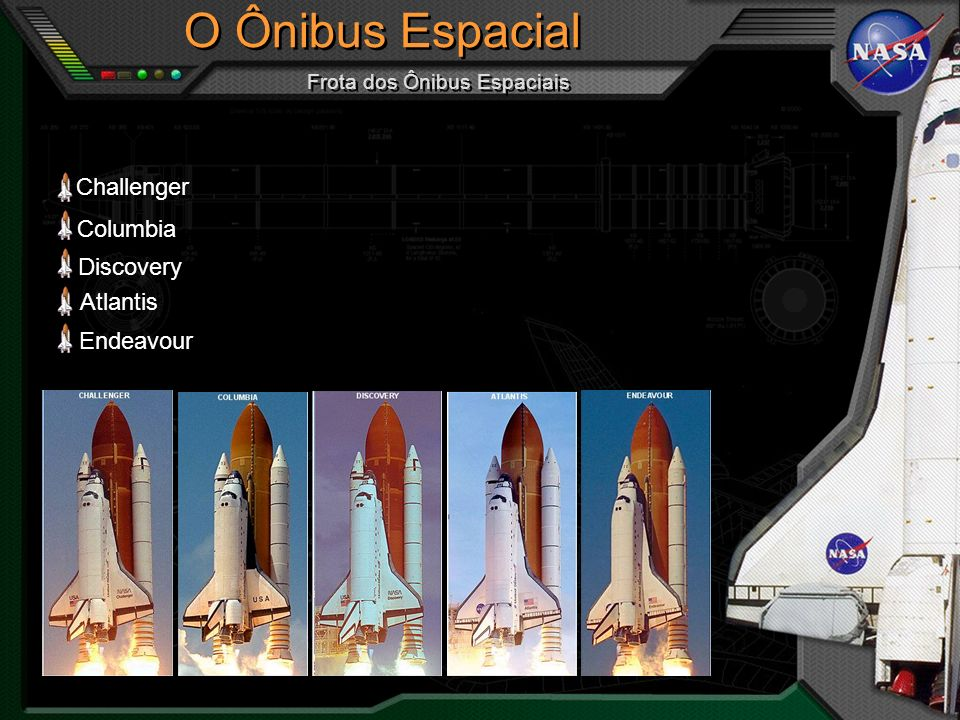 Challenger Columbia Discovery Atlantis Endeavour O Ônibus Espacial Frota dos Ônibus Espaciais