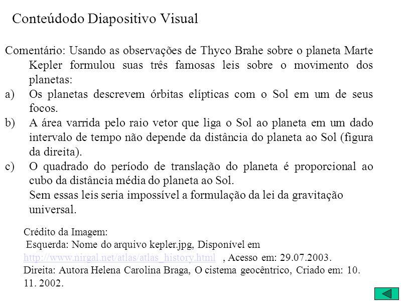 Conteúdodo Diapositivo Visual Comentário: Usando as observações de Thyco Brahe sobre o planeta Marte Kepler formulou suas três famosas leis sobre o movimento dos planetas: a)Os planetas descrevem órbitas elípticas com o Sol em um de seus focos.