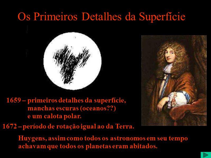 Os Primeiros Detalhes da Superfície 1659 – primeiros detalhes da superfície, manchas escuras (oceanos??) e um calota polar.
