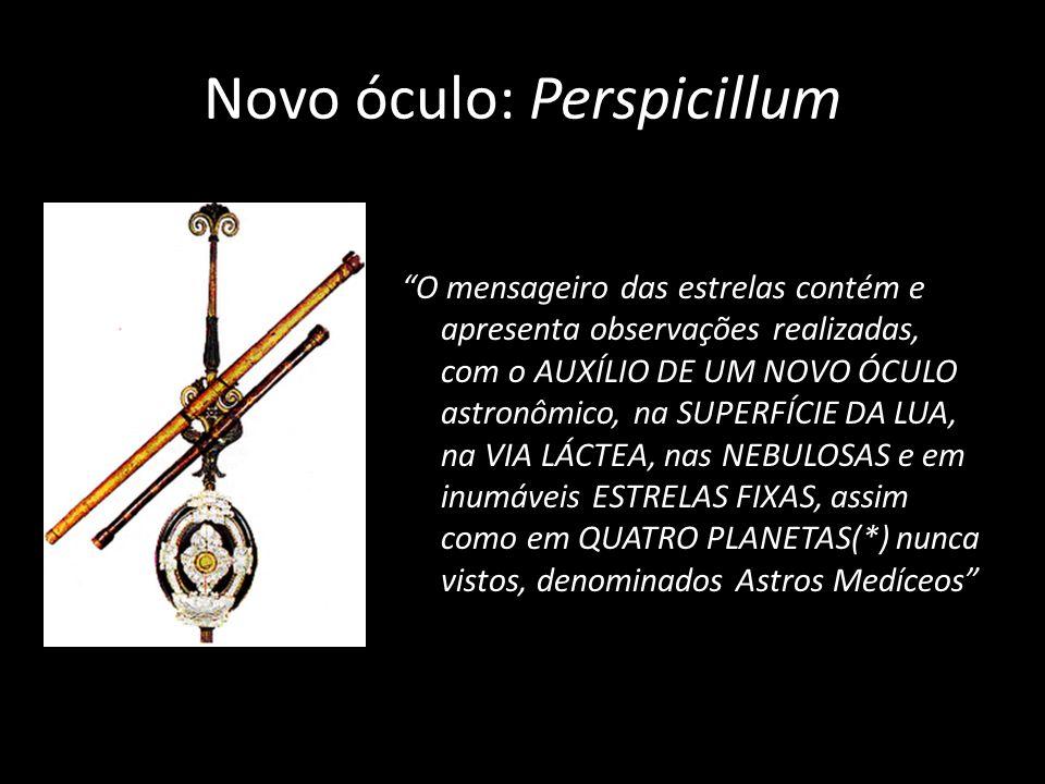 Novo óculo: Perspicillum O mensageiro das estrelas contém e apresenta observações realizadas, com o AUXÍLIO DE UM NOVO ÓCULO astronômico, na SUPERFÍCI