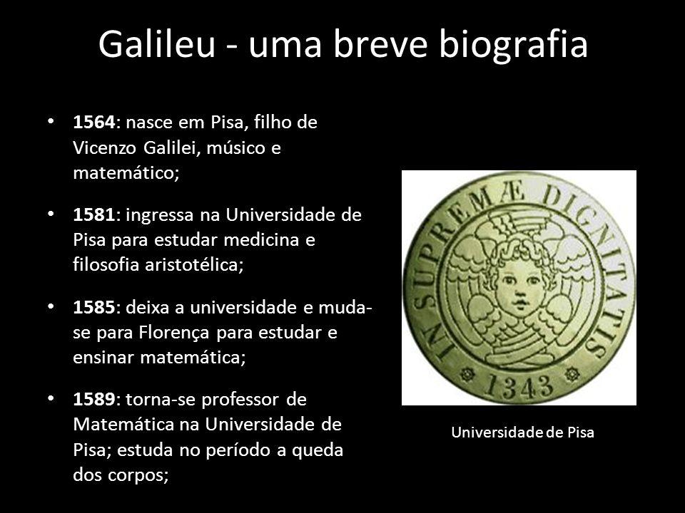 Galileu - uma breve biografia 1592: torna-se professor de Matemática na Universidade de Pádua, onde sua reputação cresce; no período, desenvolve instrumento para cálculos, trabalha cm o plano inclinado, estuda o pêndulo e realiza suas primeiras observações astronômicas com o uso de telescópio; Perspicillum - Telescópios de Galileu