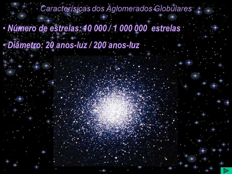Caracterísicas dos Aglomerados Globulares Número de estrelas: 10 000 / 1 000 000 estrelas Diâmetro: 20 anos-luz / 200 anos-luz