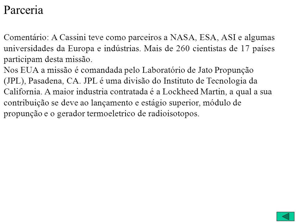 Parcerias NASA European Space Agency (ESA) Agenzia Spaziale Italiana (ASI) 260 cientistas 17 países 260 cientistas 17 países