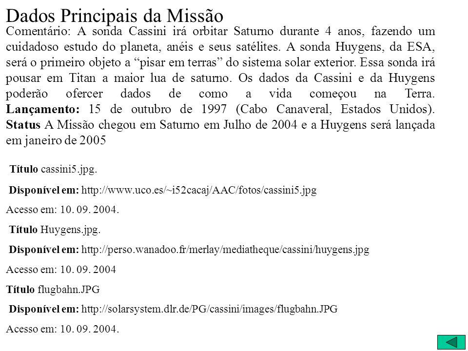 Dados Principais da Missão