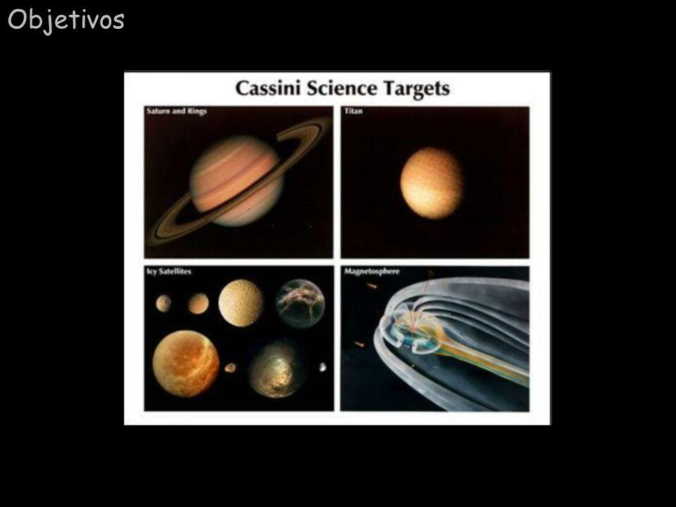 Comentário: A sonda Cassini irá orbitar Saturno durante 4 anos, fazendo um cuidadoso estudo do planeta, anéis e seus satélites. A sonda Huygens, da ES