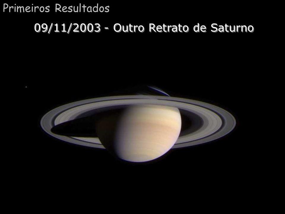 Primeira foto de Saturno Comentário:Essa é a primeira foto de Saturno tirada em 09/11/2003, podemos ver cinco luas: na esquerda, da mais brilhante a m