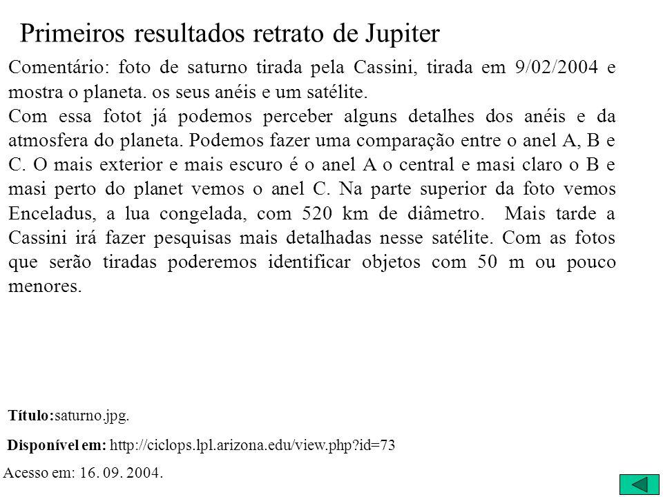 Primeiros Resultados 09/11/2003 - Outro Retrato de Saturno