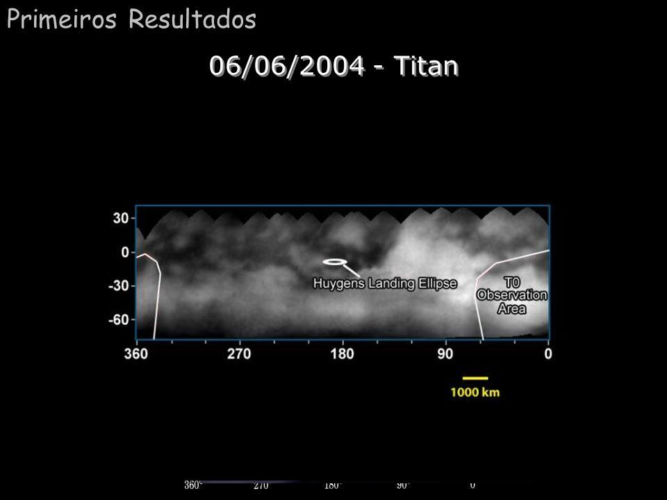 Anéis (densidade) Comentário: Aqui nós vemos uma falsa cor de Saturno. As regiões mais claras indicam regiões mais densas. Na esquerda nós podemos obs