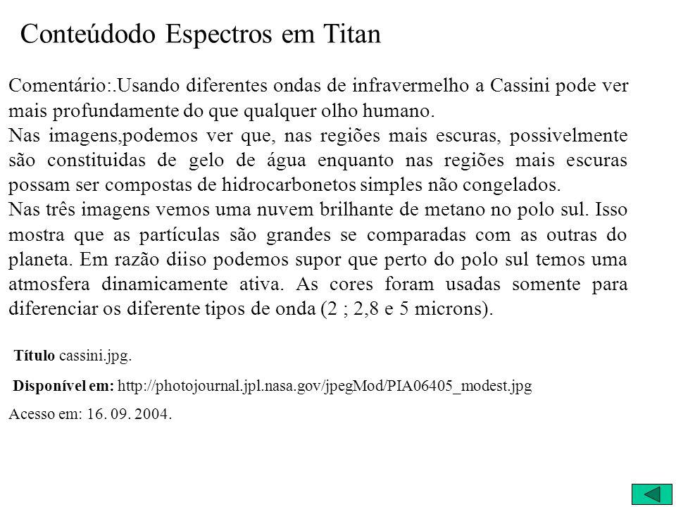Primeiros Resultados ~02/07/2004 - Espectros de Titan