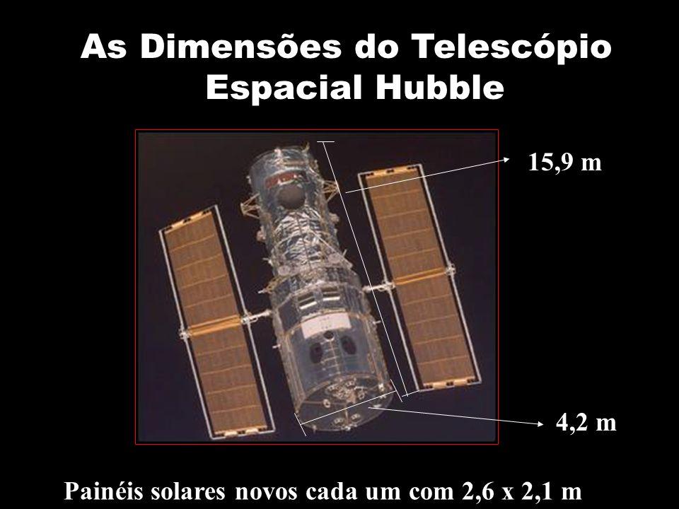 As Dimensões do Telescópio Espacial Hubble 15,9 m 4,2 m Painéis solares novos cada um com 2,6 x 2,1 m