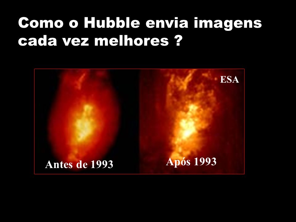 Como o Hubble envia imagens cada vez melhores ? Antes de 1993 Após 1993 ESA
