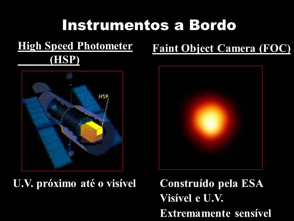 Instrumentos a Bordo High Speed Photometer (HSP) Faint Object Camera (FOC) U.V.
