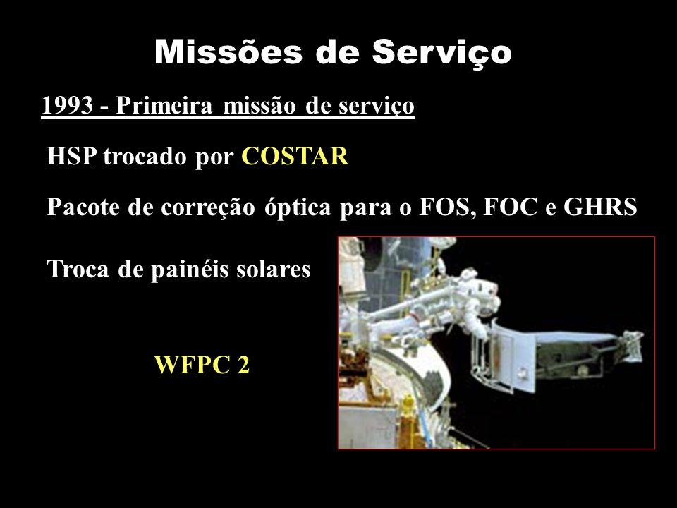 Missões de Serviço 1993 - Primeira missão de serviço HSP trocado por COSTAR WFPC 2 Pacote de correção óptica para o FOS, FOC e GHRS Troca de painéis s