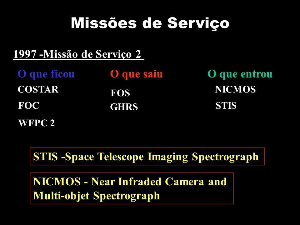 1997 -Missão de Serviço 2 STIS -Space Telescope Imaging Spectrograph NICMOS - Near Infraded Camera and Multi-objet Spectrograph Missões de Serviço O que ficouO que saiuO que entrou FOS NICMOS GHRS STIS COSTAR FOC WFPC 2