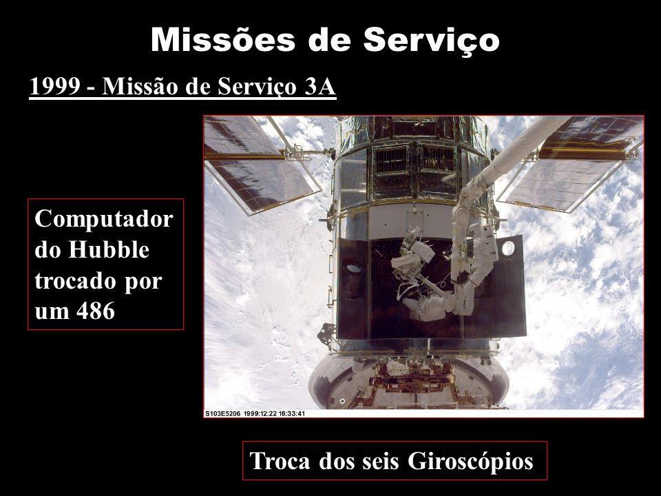 1999 - Missão de Serviço 3A Troca dos seis Giroscópios Missões de Serviço Computador do Hubble trocado por um 486
