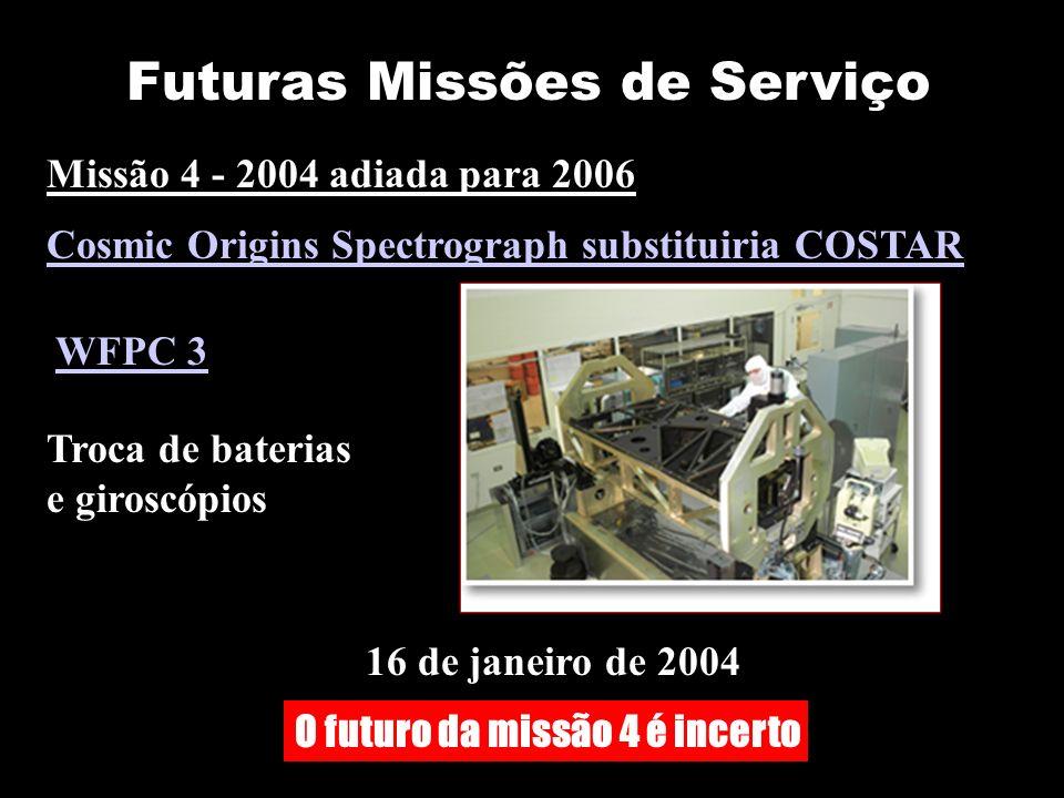 Futuras Missões de Serviço 16 de janeiro de 2004 Missão 4 - 2004 adiada para 2006 Cosmic Origins Spectrograph substituiria COSTAR WFPC 3 Troca de baterias e giroscópios O futuro da missão 4 é incerto
