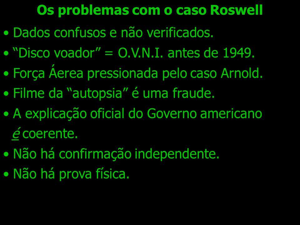 Dados confusos e não verificados. Disco voador = O.V.N.I. antes de 1949. Força Áerea pressionada pelo caso Arnold. Filme da autopsia é uma fraude. A e