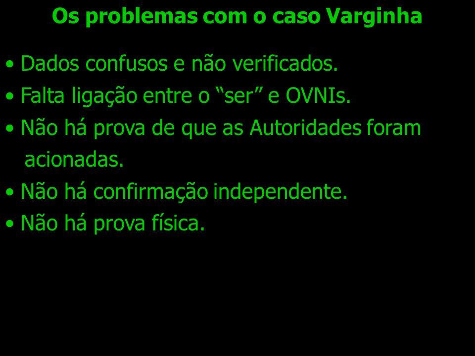 Os problemas com o caso Varginha Dados confusos e não verificados. Falta ligação entre o ser e OVNIs. Não há prova de que as Autoridades foram acionad