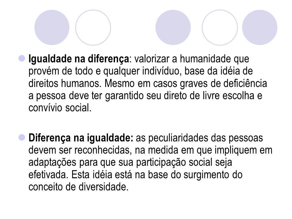 Igualdade na diferença : valorizar a humanidade que provém de todo e qualquer indivíduo, base da idéia de direitos humanos.