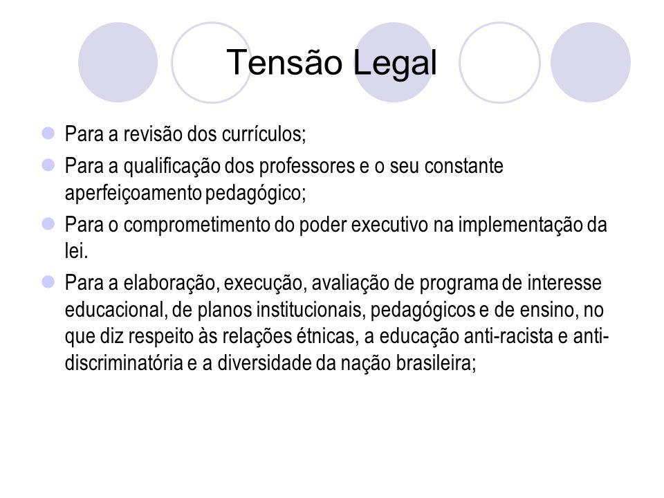 Tensão Legal Para a revisão dos currículos; Para a qualificação dos professores e o seu constante aperfeiçoamento pedagógico; Para o comprometimento do poder executivo na implementação da lei.
